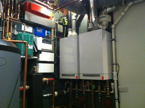 Viessmann boiler system with backflow device on boiler piping